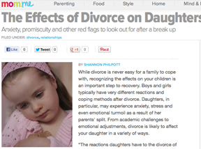A report on divorce and its effect on children